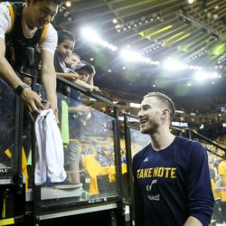 Utah Jazz forward Gordon Hayward (20) comes off the court after warming up before game one of the NBA Playoffs Western Conference Semifinals at the Oracle Arena in Oakland, Calif. on Tuesday, May 02, 2017.