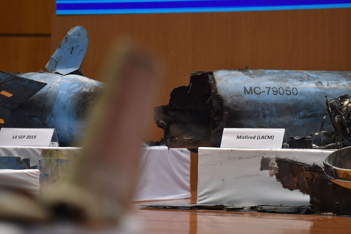 Missiles allegedly used in the Saudi Aramco attack last week on a metal table during a presentation.