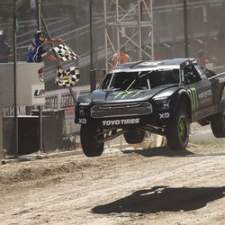 Kyle LeDuc in the Monster Energy 99 truck wins in the Pro 4 division as they compete in the Lucas Off-Road races in Tooele on Saturday, June 24, 2017.