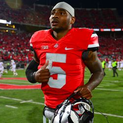 Braxton Miller jogging off the field after the victory.