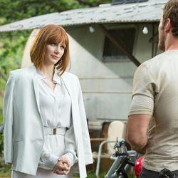 "Bryce Dallas Howard and Chris Pratt star in ""Jurassic World."""