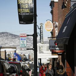 Signs announcing the 2017 Sundance Film Festival are seen in Park City on Tuesday, Jan. 17, 2017.