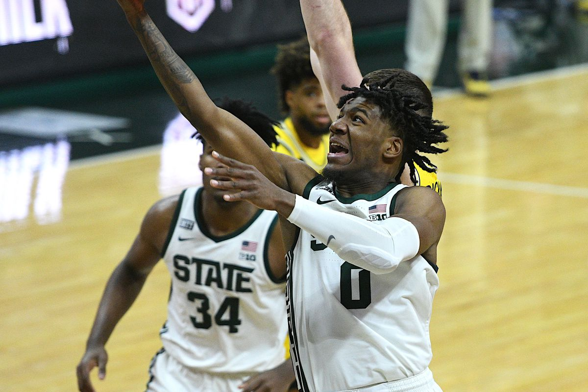 Michigan State Spartans forward Aaron Henry goes to the basket during the second half against the Michigan Wolverines at Jack Breslin Student Events Center.