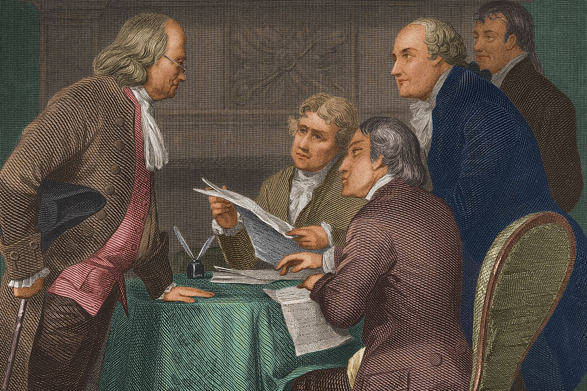 The drafting of the Declaration of Independence, as depicted by one artist.