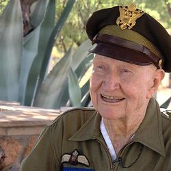"""Gail Halvorsen, a Utah veteran, remains famous to this day, 66 yeras after World War II.  He is better known as """"The Candy Bomber,"""" or """"Wiggly Wings."""" IN 1948 he dropped candy and gum by parachute for kids living in West Berlin, which had been heavily bombed by American Pilots three years earlier."""