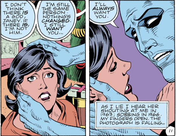 Two panels from the Watchmen comics.