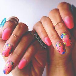 Melody Ehsani Pink Flowers by Nina Park aka @NinaNailedIt