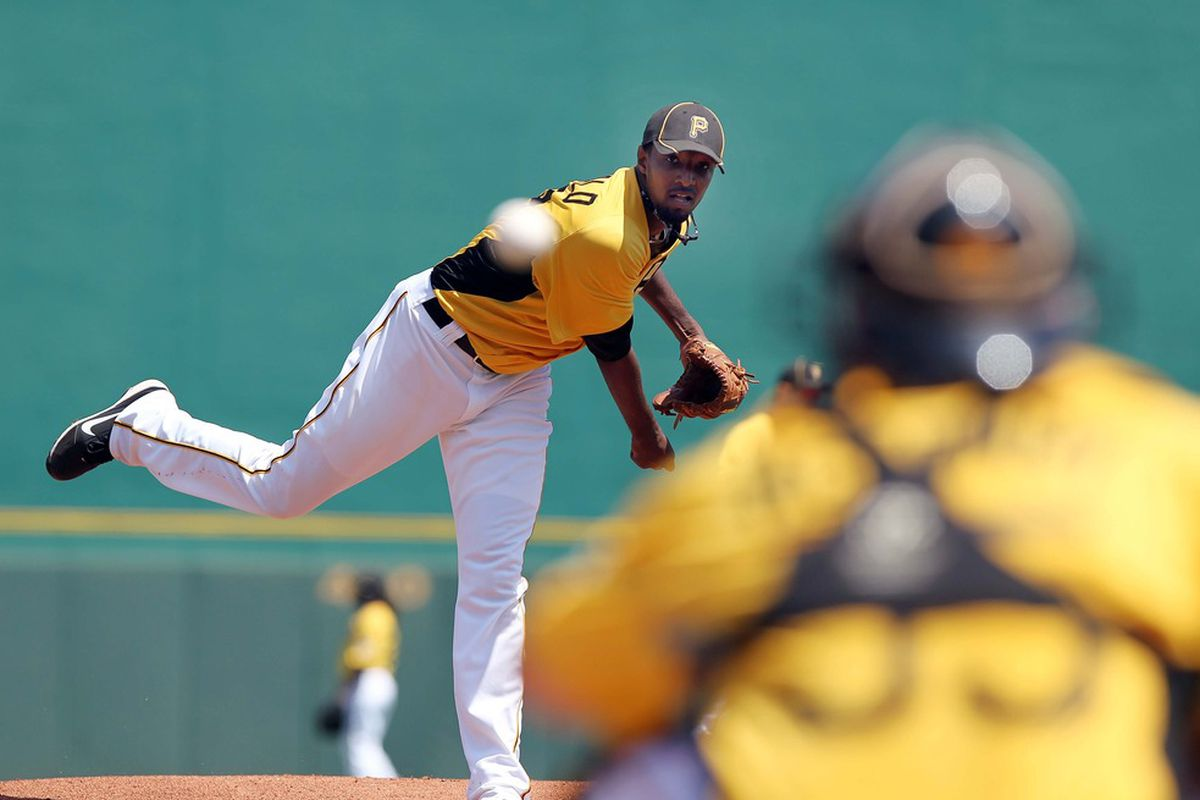 March 24, 2012; Bradenton, FL, USA; Pittsburgh Pirates starting pitcher James McDonald (53) throws a pitch in the first inning against the Houston Astros at McKechnie Field.  Mandatory Credit: Kim Klement-US PRESSWIRE