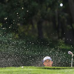 Derek Fribbs hits out of the bunker during the final round of the Utah Open in Provo on Sunday, Aug. 22, 2021. Fribbs won the Utah Open.