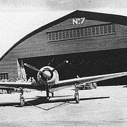 "Mitsibushi A6M3-32 Zero ""Hamp"" fighter outside Hangar No. 7, at Eagle Farm Airfield in Brisbane, Australia."