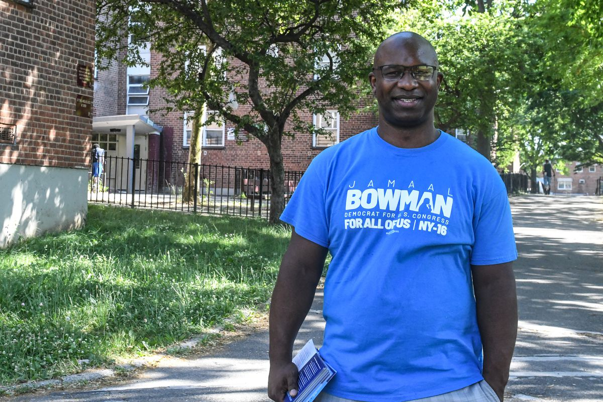 Jamaal Bowman campaigning in a park.