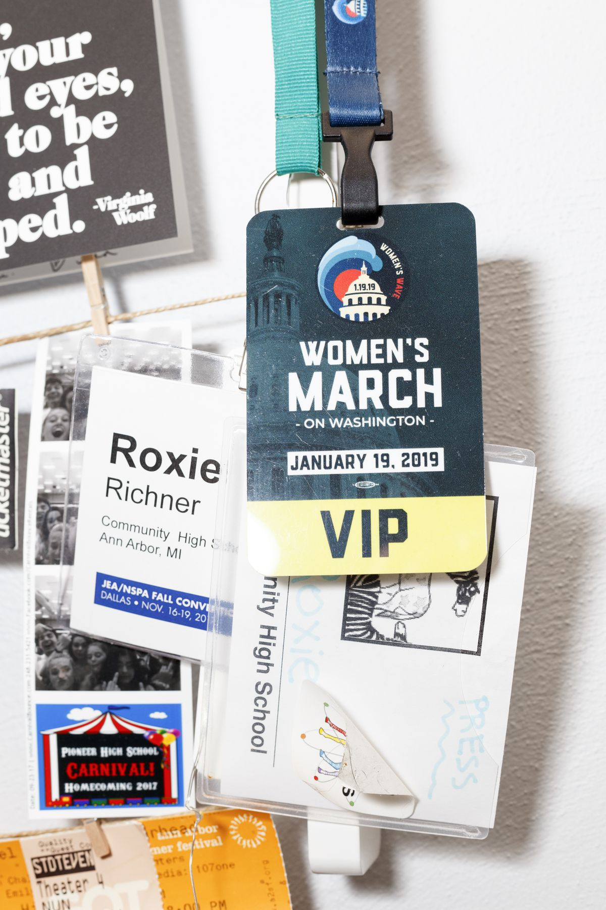 """Richner's room is filled with political paraphernalia like passes to marches and flyers from """"Students for Bernie."""""""