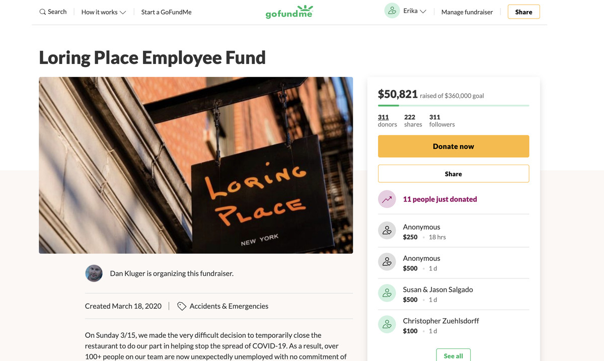 A screenshot of Loring Place's staff relief fundraiser on GoFundMe