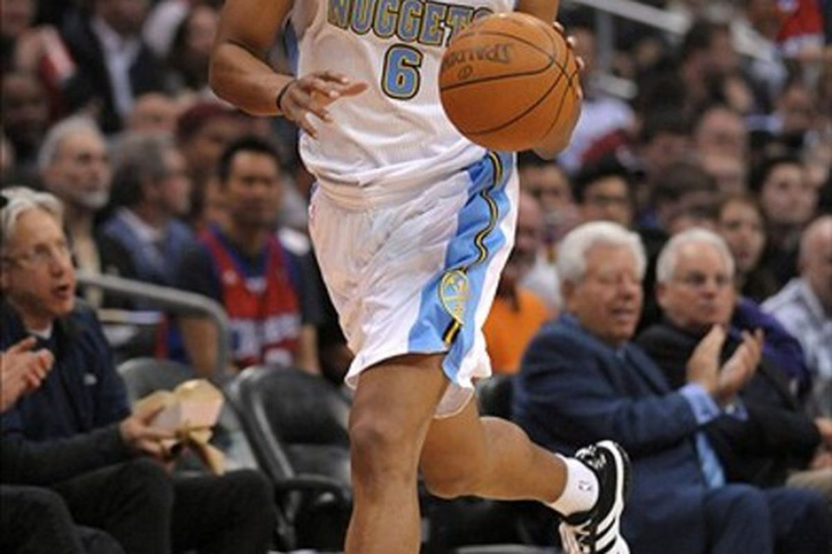 Feb 22, 2012, Los Angeles, CA, USA; Denver Nuggets guard Arron Afflalo (6) dribbles the ball during the game against the Los Angeles Clippers at the Staples Center. Mandatory Credit: Kirby Lee/Image of Sport-US PRESSWIRE