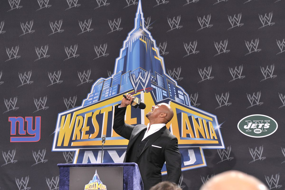 The Rock wasn't telling porkies about the hamstring tear he suffered in his match with John Cena at WrestleMania 28. (Photo by Michael N. Todaro/Getty Images)