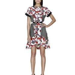 Belted Dress in Red Floral Print, $44.99**