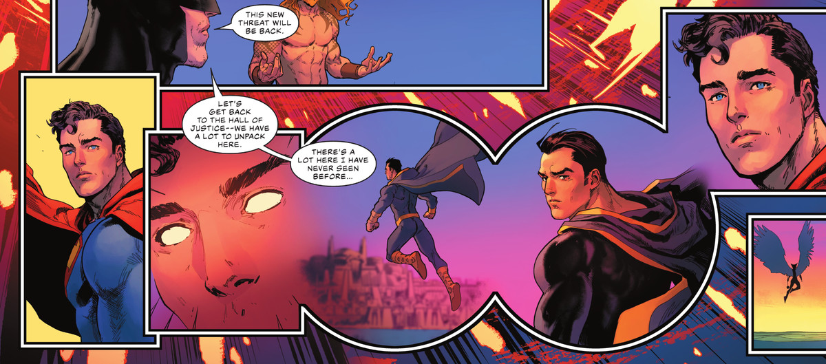 Superman gazes after a retreating Black Adam with concern, using his telescopic vision to observe. From miles away, Black Adam looks over his shoulder and glares into his eyes, in Justice League #59, DC Comics (2021).