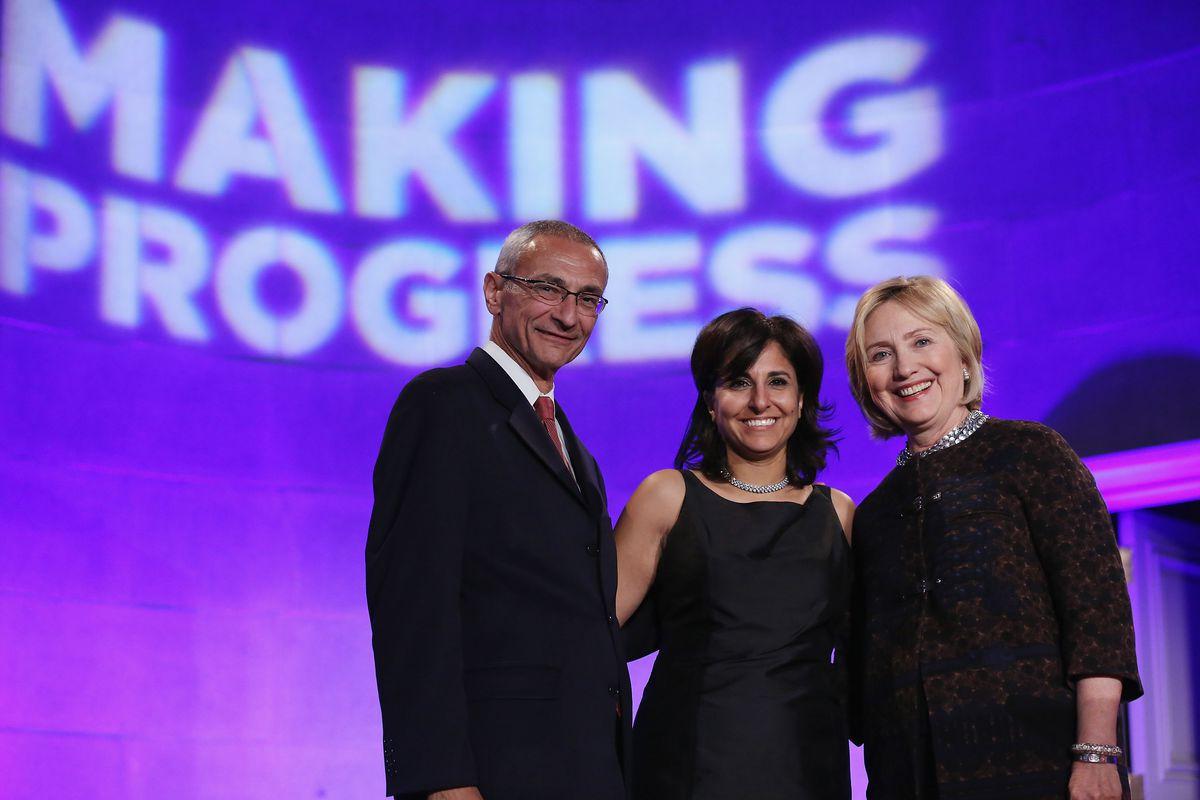 Center for American Progress co-founder John Podesta, president Neera Tanden, and former Secretary of State Hillary Clinton.