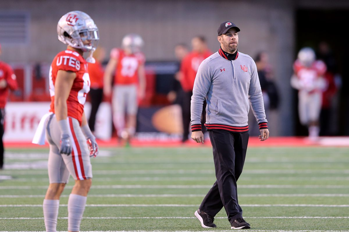 Utah Defensive Coordinator/Safeties coach Morgan Scalley walks around the field prior to Utah and UCLA playing a college football game in Salt Lake City at Rice Eccles Stadium on Saturday, Nov. 16, 2019.