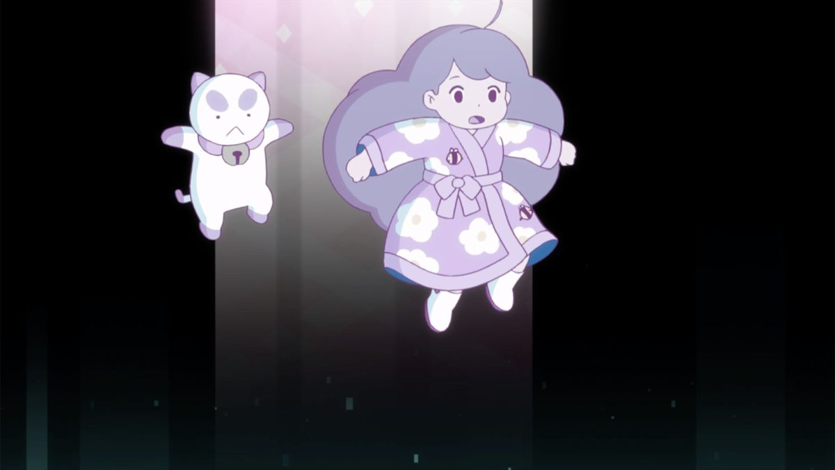 bee and puppycat in a black void illuminated by one single light