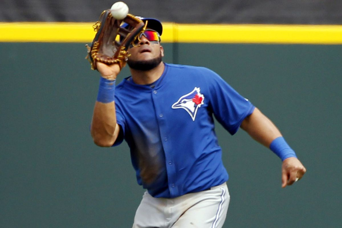 Melky makes a catch in center