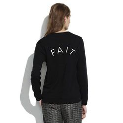 """""""I'm always looking for a great casual outfit for running to and from client appointments. Pairing this shrunken BIEN FAIT sweatshirt, meaning """"made well"""" in French ($75), and one of their great fitting leather leggings (ranging from $98-$550) I feel comf"""