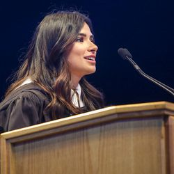 """Actress Diane Guerrero, star of """"Orange Is the New Black"""" and """"Jane the Virgin,"""" speaks during the Salt Lake Community College 2017 commencement ceremony at the Maverik Center in West Valley City on Friday, May 5, 2017."""