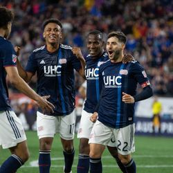 FOXBOROUGH, MA - MAY 11: New England Revolution midfielder Carles Gil #22 smiles after his second half goal at Gillette Stadium on May 11, 2019 in Foxborough, Massachusetts. (Photo by J. Alexander Dolan - The Bent Musket)