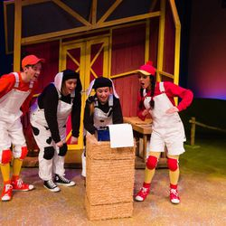 """Austin Archer (Duck), Camille Van Wagoner (Cow 1), Shelby Andersen (Cow 2) and Kalyn West (Hen) perform in Salt Lake Acting Company's stage adaptation of """"Click, Clack, Moo: Cows That Type."""""""