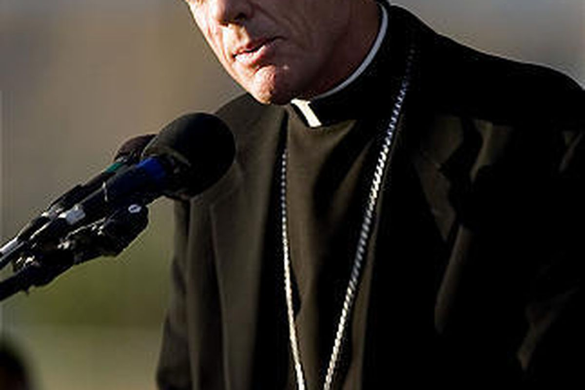 Bishop John C. Wester of the Catholic Diocese of Salt Lake City speaks at a service in Huntington in 2007.