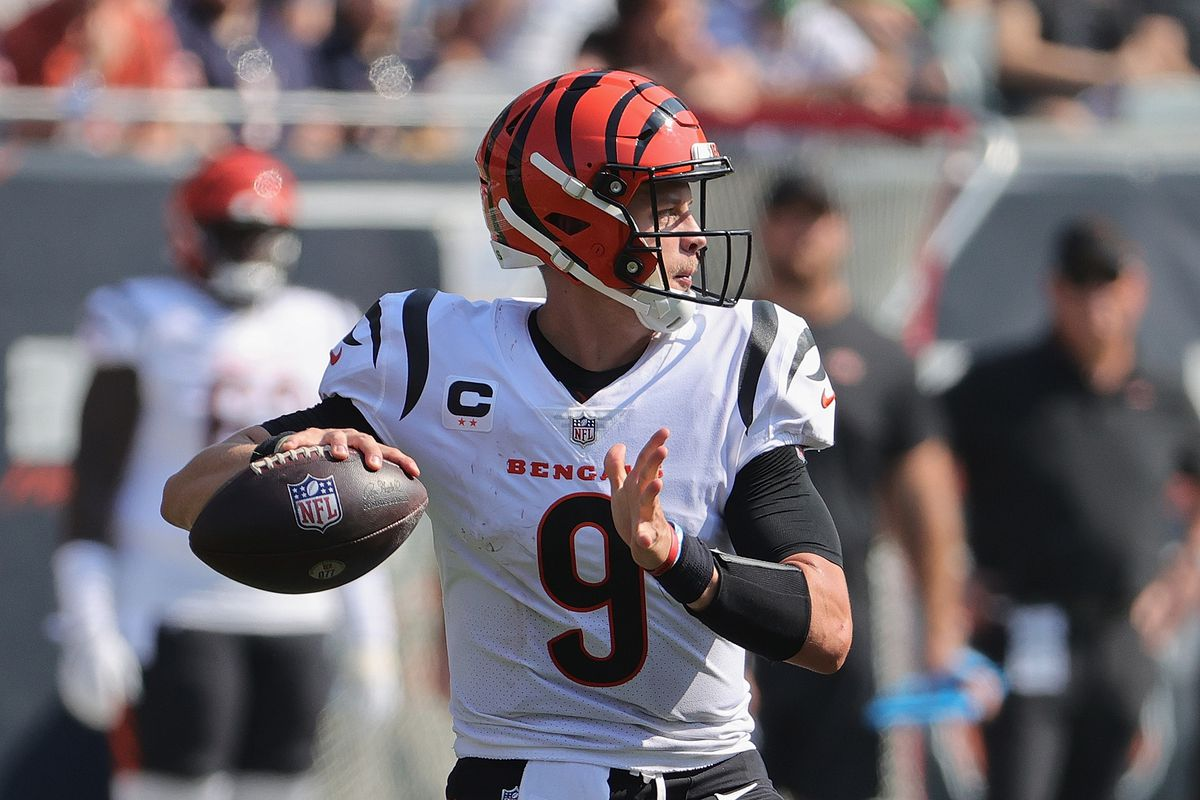 Joe Burrow #9 of the Cincinnati Bengals passes against the Chicago Bears at Soldier Field on September 19, 2021 in Chicago, Illinois. The Bears defeated the Bengals 20-17.