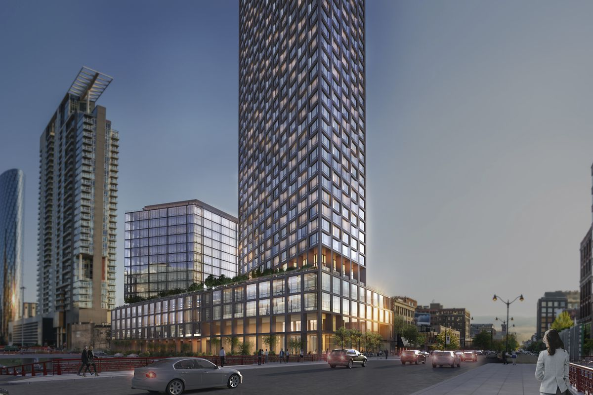 A view looking southwest of the mixed-use development proposed for 725 W. Randolph, with architecture by Roger Ferris + Partners and Perkins Eastman.