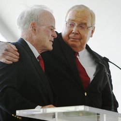 Spence Eccles and Jon M. Huntsman stand at the podium as the University of Utah breaks ground Monday, May 5, 2014 on the new Jon M. and Karen Huntsman Basketball Center.