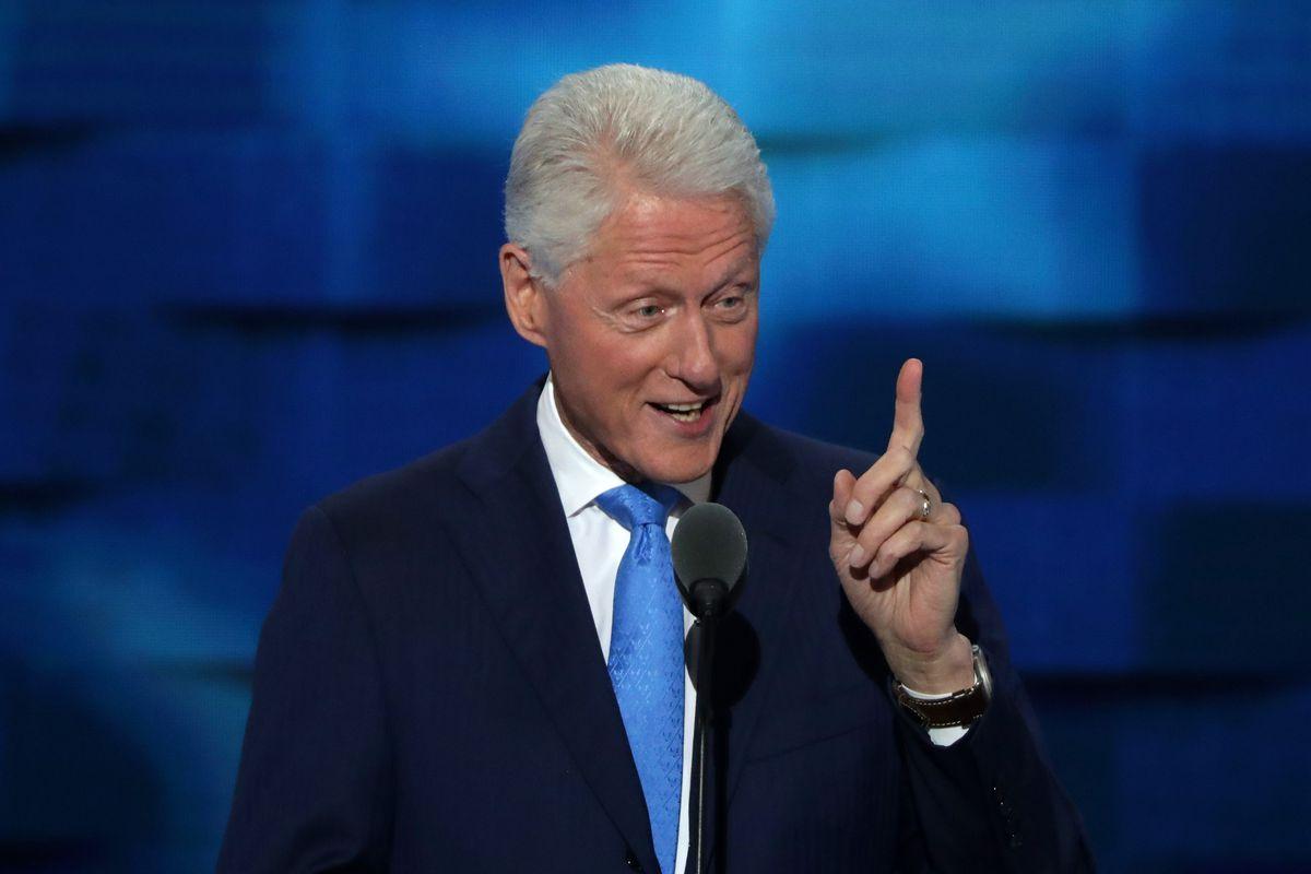 Bill Clinton mid-speech