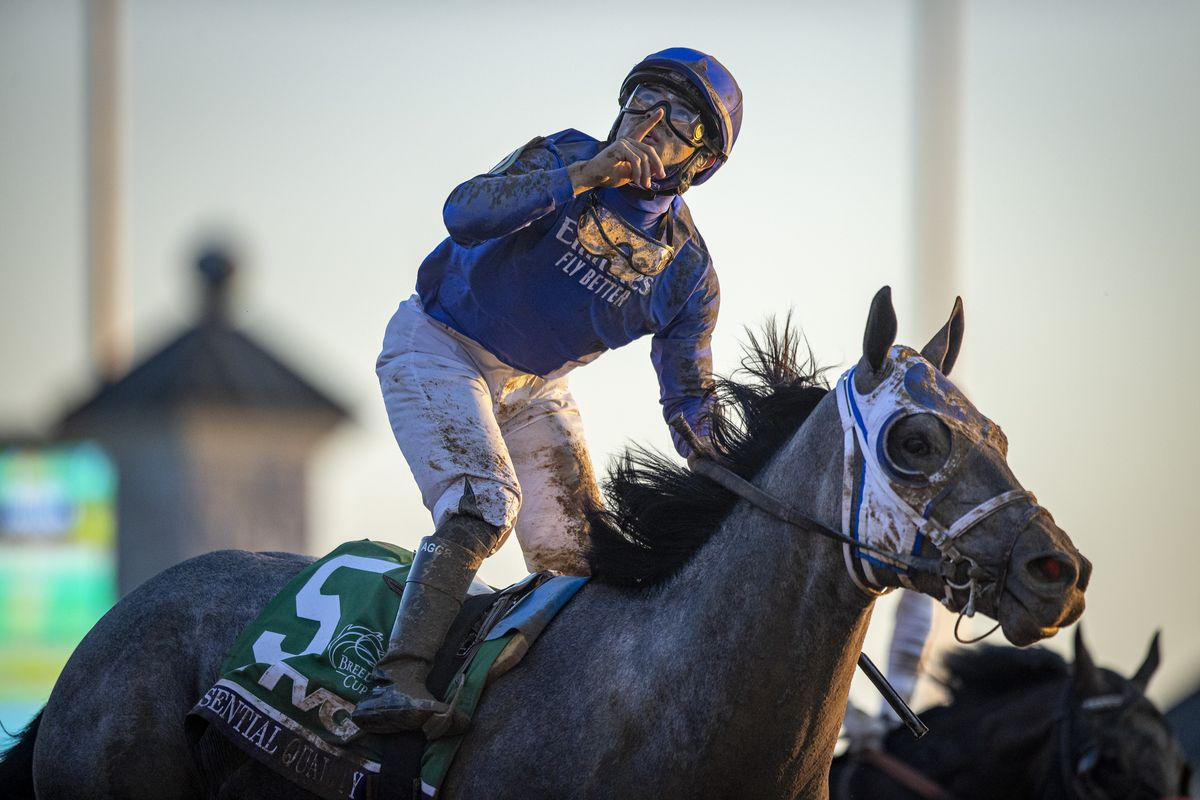Louis Saez, riding Essential Quality, celebrates after winning the Breeders Cup Juvenile at Keenland on November 6, 2020 in Lexington, Kentucky.