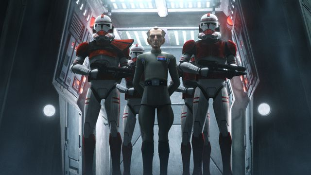 Admiral Tarkin and two clone troopers stand in a doorway in Star Wars: The Bad Batch