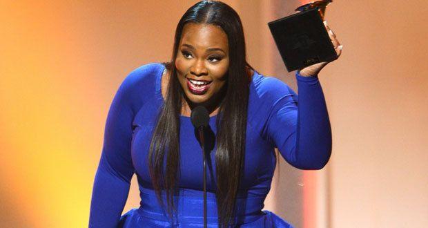 Tasha Cobbs accepting her Grammy.