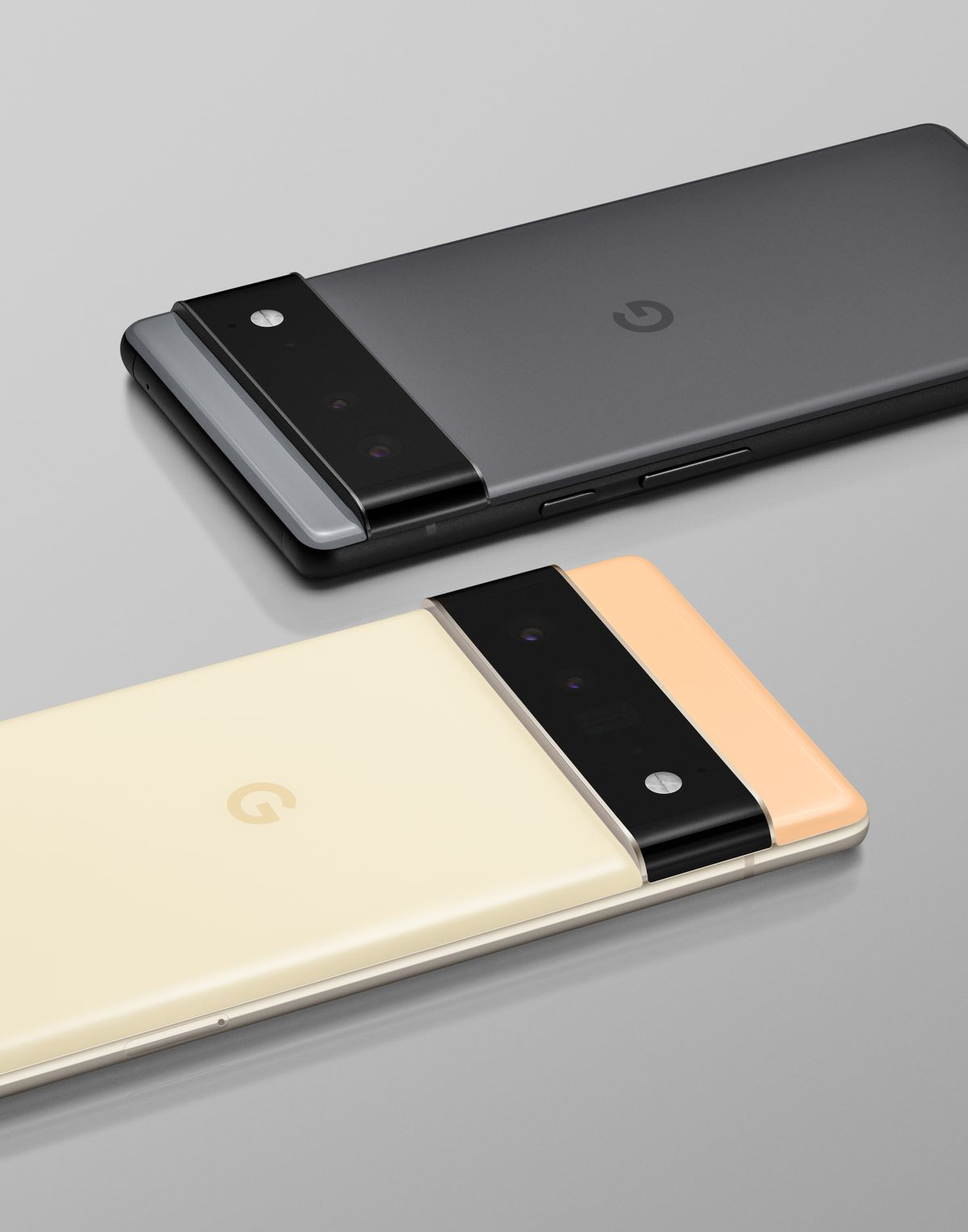 The Google Pixel 6 (top) and Pixel 6 Pro (bottom)