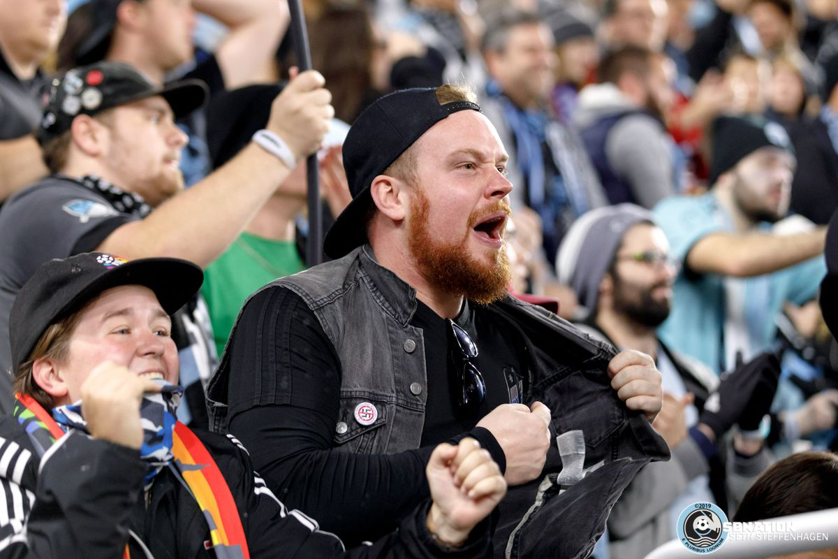 October 20, 2019 - Saint Paul, Minnesota, United States - Supporters in the Wonderwall react to a goal by Minnesota United midfielder Ján Greguš (8) during the first round playoff match against LA Galaxy at Allianz Field.