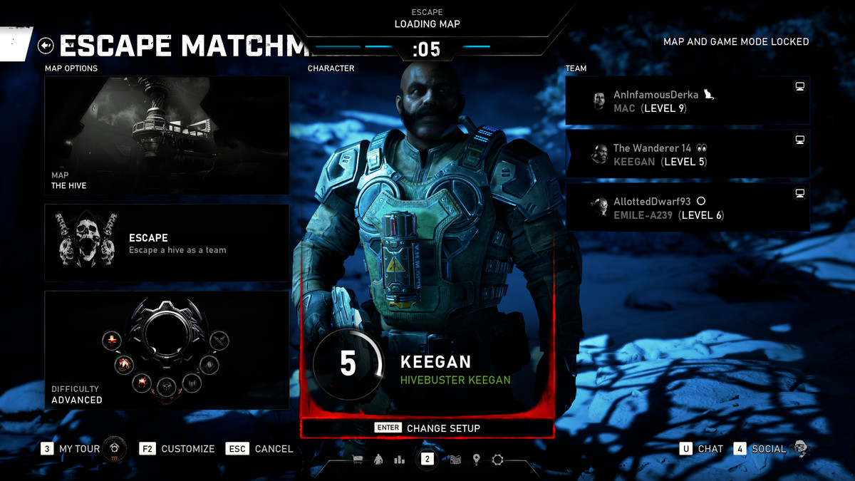 Keegan, a Hivebuster, shown on his character loading screen.