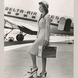 "The lightweight summer uniforms of the early 40s. Photo via <a href-""http://www.deltamuseum.org/explore/history/delta-brand/uniforms/propeller-era-uniforms-1940-1959"">DeltaMuseum.org.</a>"