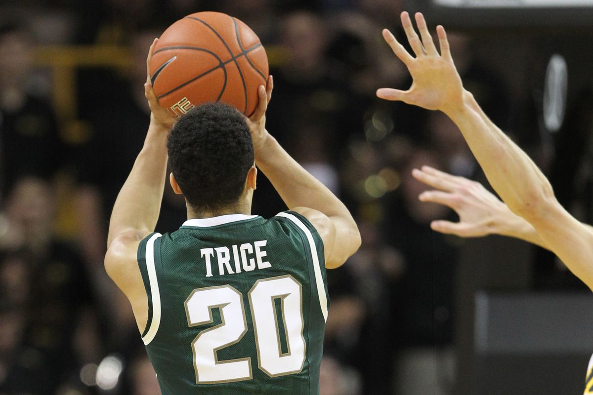 Michigan State's Travis Trice exploded for seven 3-pointers in a big road win over Iowa.