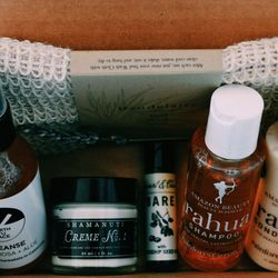 """Follain-curated """"Healthy Relaxation"""" Set, $55: calming bath salts; olive oil soap bar; body oil; and body butter"""