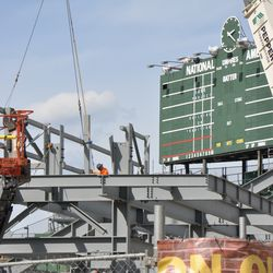 Interesting vertical frame addition at the top of the angled girders in right field -