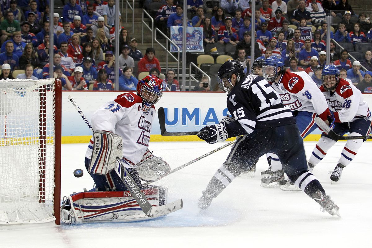 Yale junior forward Clinton Bourbonais scored the lone goal of the hockey game through two periods of the Frozen Four National Championship Game.