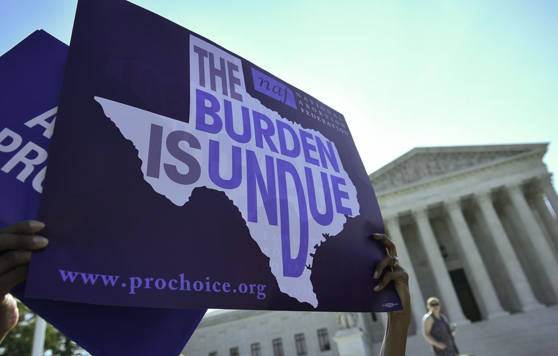 Protesters of anti-abortion measures outside Supreme Court