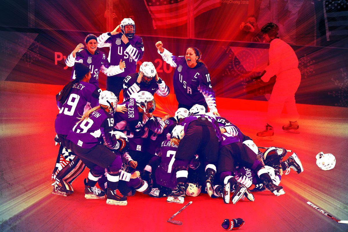 The U.S. women's hockey team celebrating on the rink