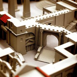"""This is a scale model of the set for """"The New Testament"""" project now being built two miles south of Goshen."""