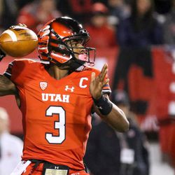 Utah Utes quarterback Troy Williams (3) lines up a pass during the game against the Colorado Buffaloes at Rice-Eccles Stadium in Salt Lake City on Saturday, Nov. 25, 2017.