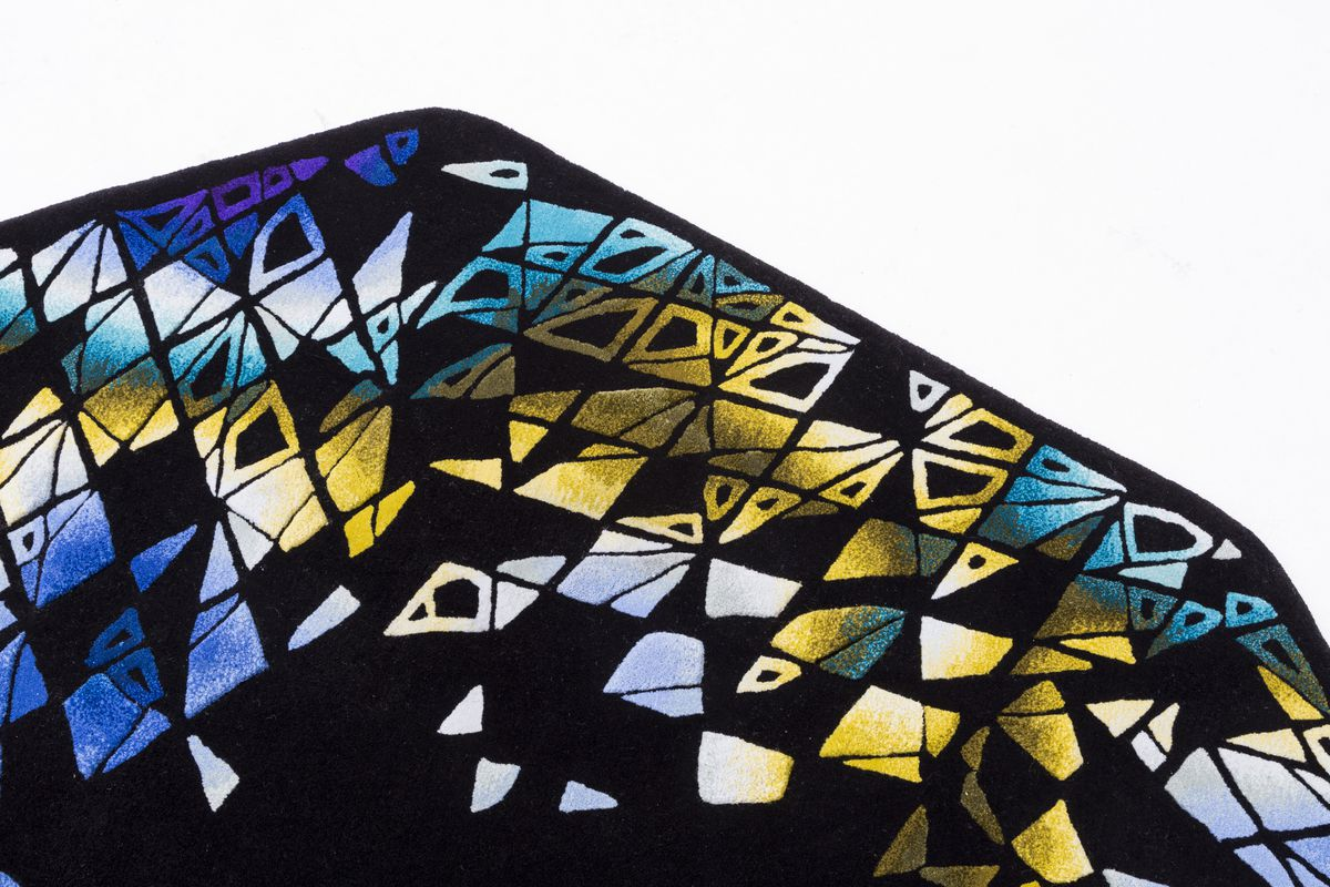 Black carpet with colorful shapes